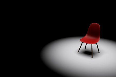 Red chair in a bright spotlight. Business leadership. recruitment concept. 3D rendering