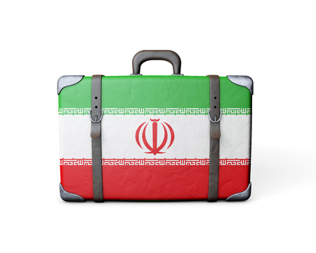 Iran flag on a vintage leather suitcase. 3D Rendering