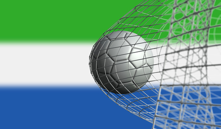Soccer ball scores a goal in a net against Sierra LEone flag. 3D Rendering Stock Photo