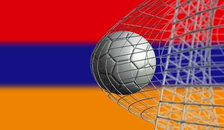 Soccer ball scores a goal in a net against Armenia flag. 3D Rendering Stock Photo