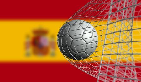 Soccer ball scores a goal in a net against Spain flag. 3D Rendering