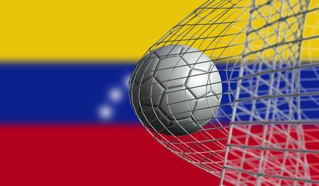 Fotbal míří gól do sítě proti vlajce Venezuely. 3D rendrování
