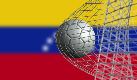 Soccer ball scores a goal in a net against Venezuela flag. 3D Rendering