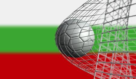 Soccer ball scores a goal in a net against Bulgaria flag. 3D Rendering Stock Photo