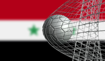 Soccer ball scores a goal in a net against Syria flag. 3D Rendering Stock Photo