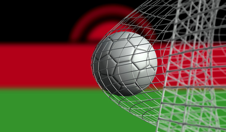 Soccer ball scores a goal in a net against BMalawiolivia flag. 3D Rendering Stock Photo