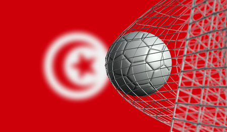 Soccer ball scores a goal in a net against Tunisia flag. 3D Rendering