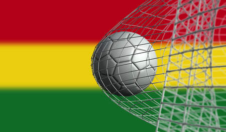 Soccer ball scores a goal in a net against Bolivia flag. 3D Rendering