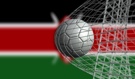 Soccer ball scores a goal in a net against Kenya flag. 3D Rendering