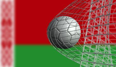 Soccer ball scores a goal in a net against Belarus flag. 3D Rendering