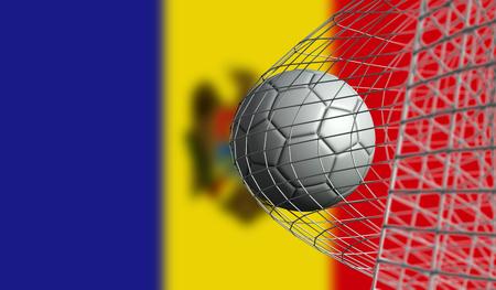 Soccer ball scores a goal in a net against Moldova flag. 3D Rendering Stock Photo