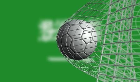 Soccer ball scores a goal in a net against Saudi Arabia flag. 3D Rendering