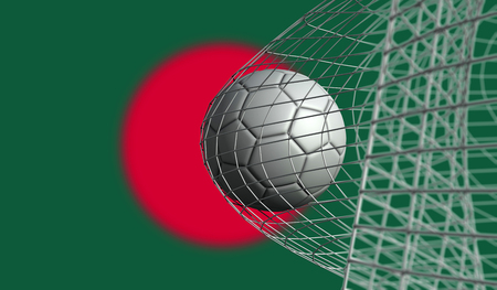 Soccer ball scores a goal in a net against Bangladesh flag. 3D Rendering