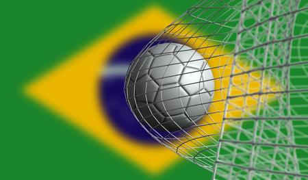 Soccer ball scores a goal in a net against Brazil flag. 3D Rendering Stock Photo