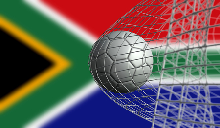 Soccer ball scores a goal in a net against South Africa flag. 3D Rendering
