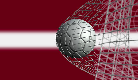 Soccer ball scores a goal in a net against LAtvia flag. 3D Rendering