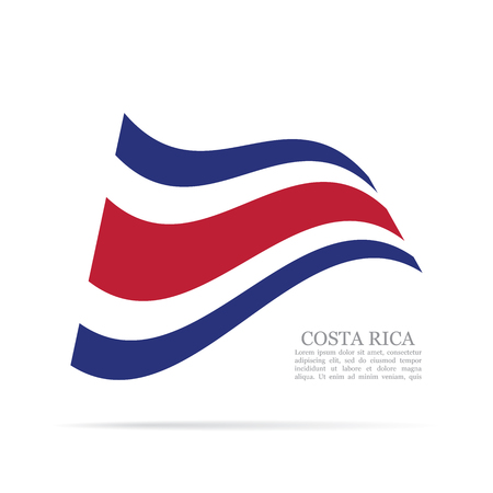 Costa Rica national flag waving icon illustration.