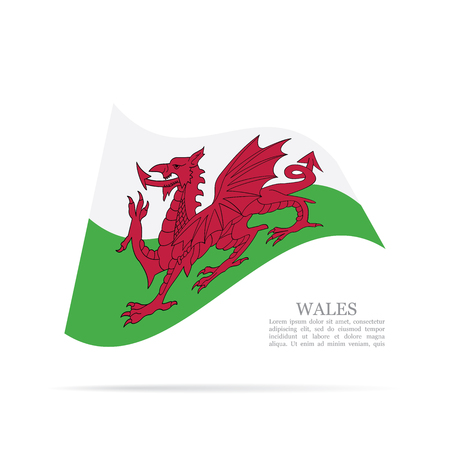 Wales national flag waving icon illustration.