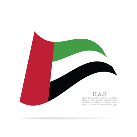 UAE national flag waving icon. Illustration