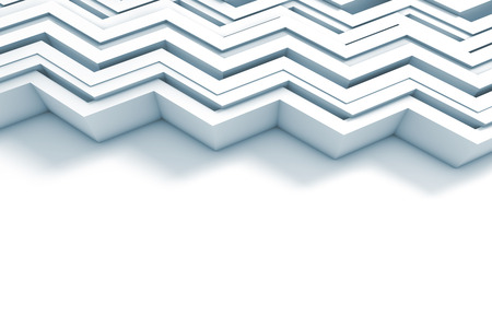 Geometric zig zag pattern background. 3D rendering