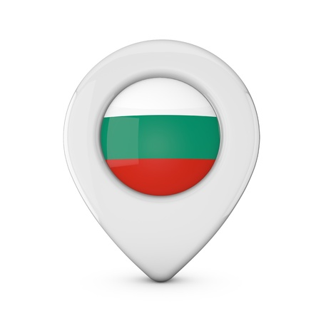 Bulgaria flag location marker icon. 3D Rendering