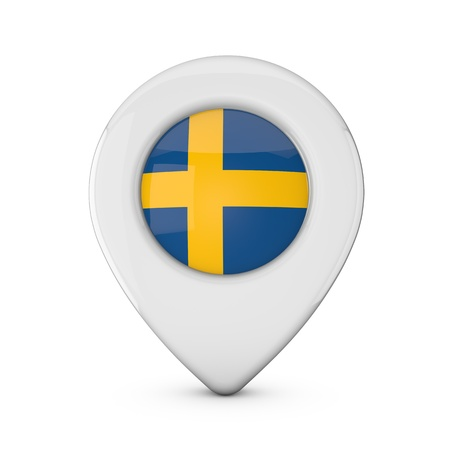 Sweden flag location marker icon. 3D Rendering Stock Photo