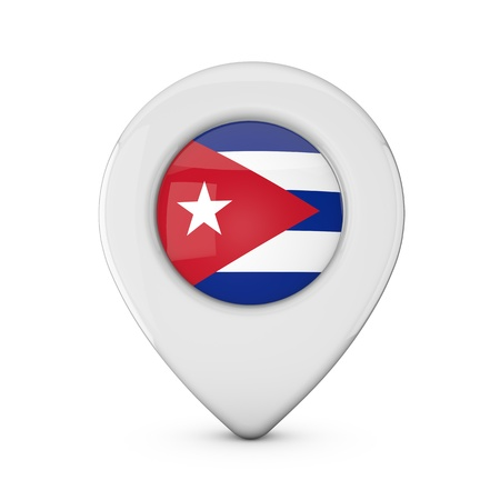 Cuba flag location marker icon. 3D Rendering Stock Photo