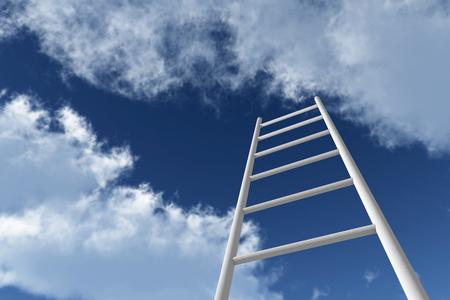 푸른 하늘에 도달하는 사다리. 성장, 미래, 개발 개념입니다. 3D 렌더링