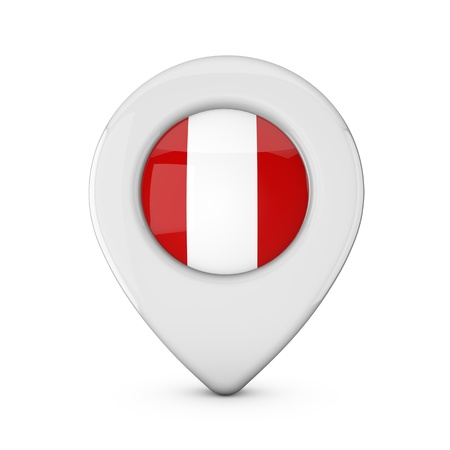 Peru flag location marker icon. 3D Rendering Stock Photo
