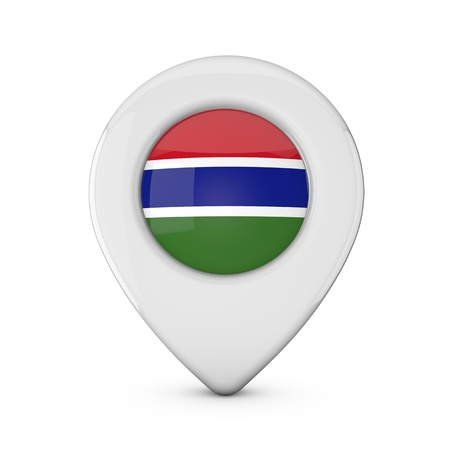 Gambia flag location marker icon. 3D Rendering Stock Photo