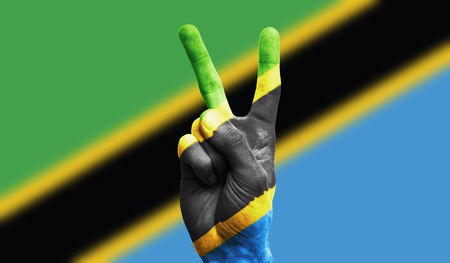 Tanzania national flag painted onto a male hand showing a victory, peace, strength sign Standard-Bild