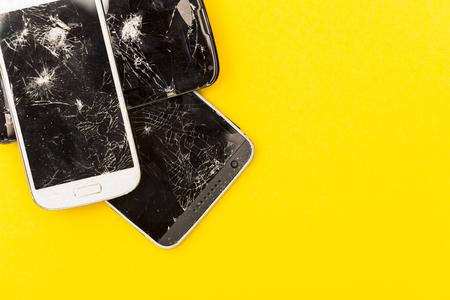 Smashed shattered broken screen of a mobile smartphone