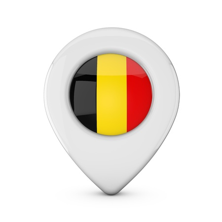 Belgium flag location marker icon. 3D Rendering Stock Photo