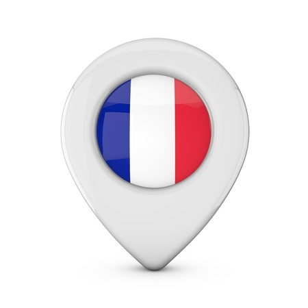 France flag location marker icon. 3D Rendering