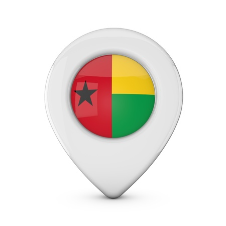 Guinea Bissau flag location marker icon. 3D Rendering Stock Photo