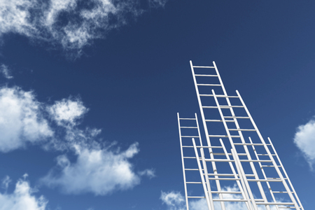 ladders reaching into a blue sky. Growth, future, development concept. 3D Rendering