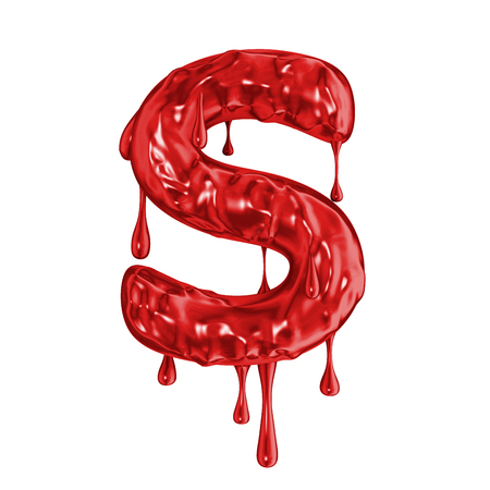 Blood font halloween horror letter S