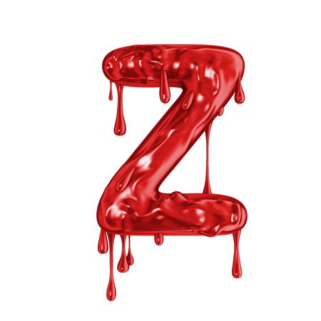 Blood font halloween horror letter Z