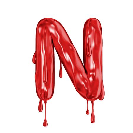 Blood font halloween horror letter N