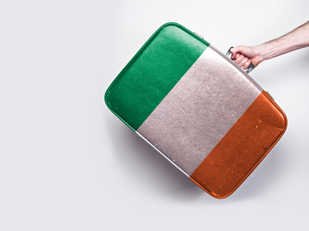 Ireland flag on a vintage leather suitcase.
