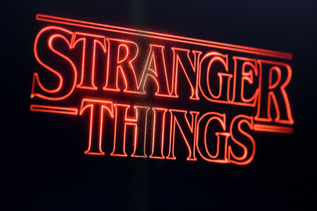 LONDON, UK - OCTOBER 26th 2017: Stranger things title logo photographed on a computer screen. Éditoriale