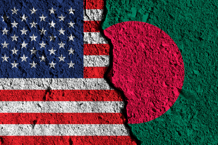 Crack between America and Bangladesh flags. political relationship concept Stock Photo