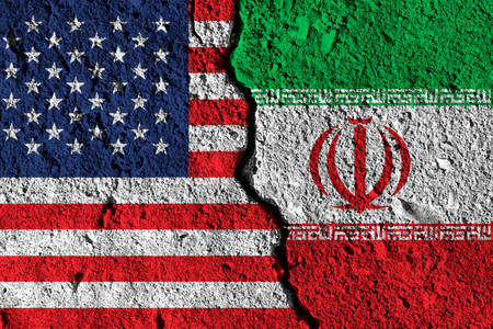Crack between America and Iran flags. political relationship concept