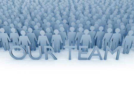 私たちのチーム。スティックフィギュアの人々の大きなグループ。3D レンダリング