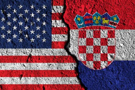 Crack between America and Croatia flags. political relationship concept Zdjęcie Seryjne