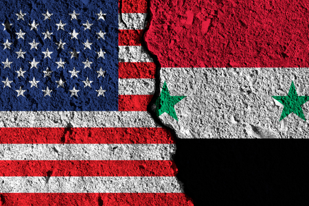 Crack between America and Syria flags. political relationship concept