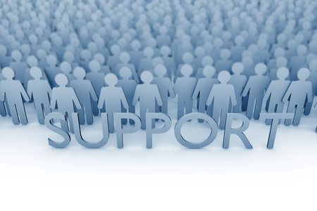 Business support. Large group of stick figure people. 3D Rendering