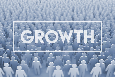 Business growth. Large group of stick figure people. 3D Rendering