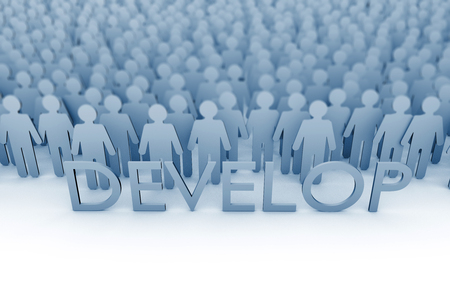 Personal development. Large group of stick figure people. 3D Rendering Stock Photo
