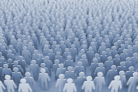 Large group of stick figure people. 3D Rendering